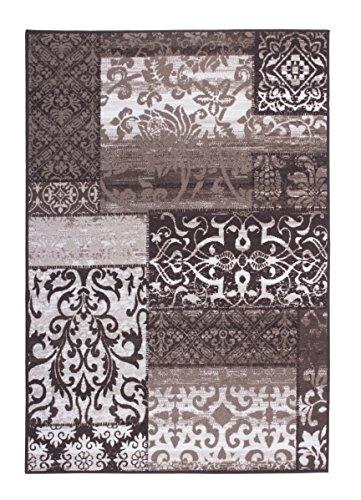 Andiamo 1100413 alfombra iQue, adorno diseño vintage, 133 x 190 cm, 100% poliamida, Gris