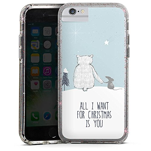 Apple iPhone 7 Bumper Hülle Bumper Case Glitzer Hülle Christmas Weihnachten Friendship Bumper Case Glitzer rose gold
