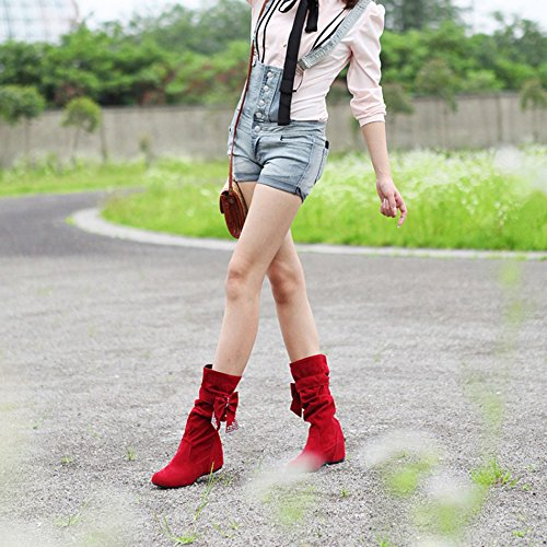 Dayiss Damen Halbschaft Stiefel mit Kleiabsatz Verstecktem Absatz und Schleife Schlupfstiefel Stiefeletten Winter boots Rot