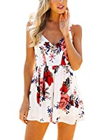 Simplee Apparel Womens Summer Casual Chiffon Fit And Flare Flower V Neck Cross Back Floral Print Mini Strap Dress White