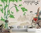 Fototapete 3D Effekt Tapete Wandbild(300cmX210cm) Bambusvogel, Huhn, Schwalbe Vliestapete Foto Tapeten Wandtapete Wanddeko Wandbilder