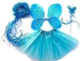 Tante Tina - Disfraz de Hadas Mariposa - Alas, Falda tutú, Varita mágica y Diadema - Azul Hielo con Diadema