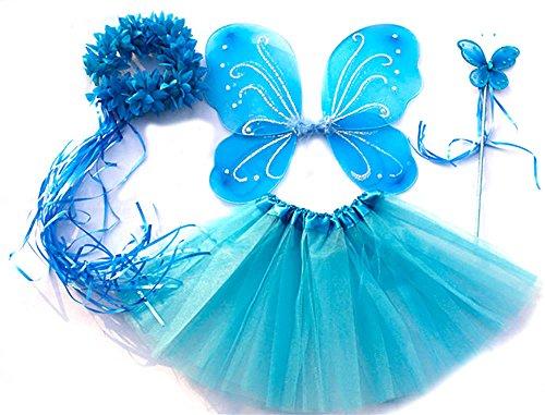 erling Kostüm für Mädchen - 4-teiliges Set - Feenflügel / Schmetterlingsflügel Verkleiden - Eisblau mit Haarkranz (Halloween-kostüme Für Mädchen Kleinkind)