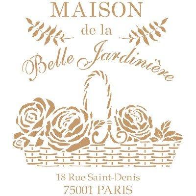 """Stencil Deco Vintage 215- Schablone """"Maison de la Belle Jardinière"""": Außenmaß der Schablone ca. 25x 25cm, Maße des Design: 22x 20cm"""