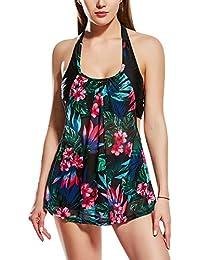 f98f09fabd99 Dolamen Mujer Trajes De Baño con Falda, 2018 Dos Piezas Floral Bañador  Deportivo Bañador de natación Bikini Tankini para Mujer,…