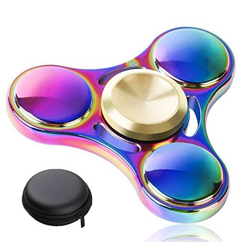 Produktbild E2BUY® Farbe Metall Fidget Spinner Spielzeug,  Hand Spinner,  Erweiterte R188 Lager,  Stress Reducer,  - Perfekt für ADD,  ADHS,  Angst und Autismus erwachsene,  Kinder (3 min +)