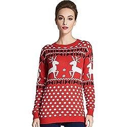 Camii Mia Jersey para Mujer Cuello Redondo Jacquard Suéter (Medium, Rojo)