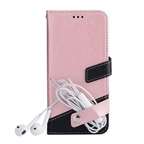 EKINHUI Case Cover Bookstyle Horizontale Flip Stand Case Litchi Texture Dual Farbe genäht PU Leder Tasche mit Lanyard & Niet Button für iPhone 7 ( Color : Brown ) Pink