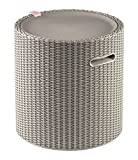 Keter Knit Cool Stool Outdoor 39L Cool Bar Ice Cooler Garden Furniture - Beige