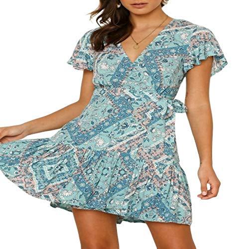 YuJian12 Sommer böhmischen Stil sexy tiefen V Blumen drucken Kleid lässig Kurzarm Saum Rüschen Gürtel Strandkleider-in Kleider von Frauen Himmelblau