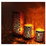 #6: SET OF 3 ETCHED CANDLE HOLDERS WITH 12 SCENTED TEA-LIGHTS