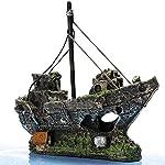 FENICAL Resin Fishing Boat Aquarium Ornament for Fish Tank Accessories 8