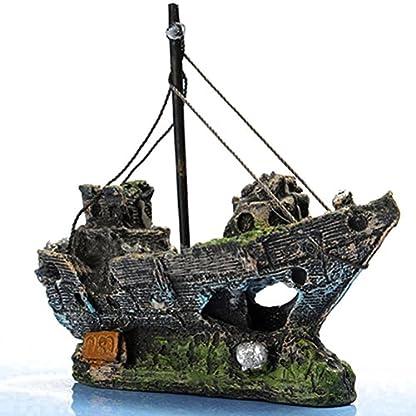 FENICAL Resin Fishing Boat Aquarium Ornament for Fish Tank Accessories 4