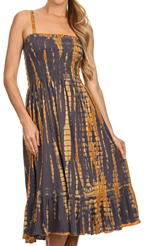 Sakkas 1566 – Aya Smocked Tie Dye Bodice Mid Length Adjustable Spaghetti Straps Dress – Rust – OS