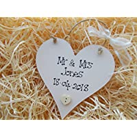 Shabby Chic Mr and Mrs Wedding Anniversary Personalised Heart Wooden Plaque Gift