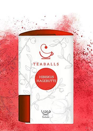 TEABALLS - Früchtetee Hibiskus Hagebutte | 150 Teaballs | für ca. 30-50 Tassen Tee | 100% reines Pflanzenextrakt | 100% Natur