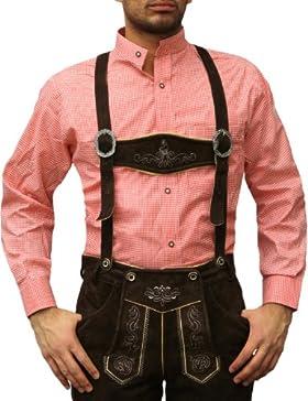 Trachtenhemd mit Stehkragen für Trachtenlederhosen ROT/kariert