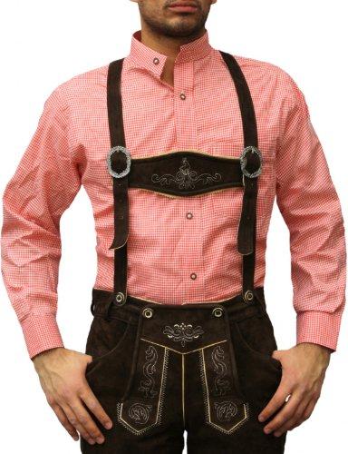 Trachtenhemd mit Stehkragen für Trachtenlederhosen ROT/kariert, Hemdgröße:XL