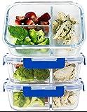(3er-Set) 3-fach Premium-Frischeboxen Glas-Set mit Deckel [LEBENSLANGE GARANTIE auf Deckel], Meal Prep Container BPA-frei, geeignet für Mikrowellen, Backöfen, Gefrierschränke, Geschirrspüler 1L Volumen, rechteckig