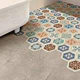 WALPLUS Wdb058-victorian hexagonale Dalles de Sol, mélangé, 20cmx23cmx0.04cm