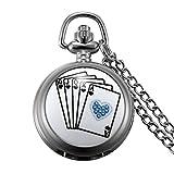 JewelryWe Reloj de Bolsillo Cuarzo Plateado, Poker Retro Vintage De Buena Suerte de Estilo Hunter, Buen Regalo para Hombre Mujer
