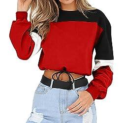 Sudaderas Mujer Tumblr Cortas Chica Adolescente Niña - Cordón de la Cintura Deportivo Camiseta Manga Larga Fila Tops - Kawaii Modernas Ropa Invierno Otoño 2019
