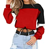 Sweatshirt Damen Kolylong® Frauen Beiläufig Streifen Patchwork Sweatshirt Herbst Mode Langarmshirts Kurz Zipper Pullover Sport Oberteil Bauchfrei Jumper T-Shirt Pulli Mantel Crop (Red-01, Small)