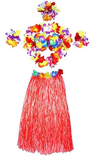 Oyfel Hawaiian Hula Gras Rock Fancy Flower Leis Set Kostüm Elastic Blume Armbänder Stirnband Halskette Luau Beach Party Gastgeschenken Mädchen Frauen, Rot, 60 cm