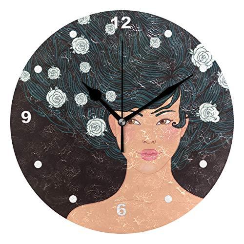 SUNOP Uhr für Kinder, Öldruck, 1 schönes asiatisches Mädchen mit fließendem Haar, Wanduhren für Wohnzimmer, Schlafzimmer und Küche, Vintage-Stil (Mädchen Schöne Asiatische)