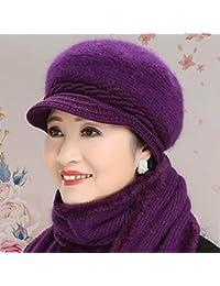 FRGVSXZCX Moda Cappelli cap Inverno Senior Cappello Donna Nonna Cappello di  Lana Sciarpa Spesso Madre Caldo a5370cc15ddd