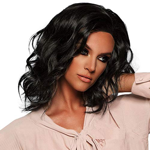 TianWlio Perücken Damen Kurzes Gewelltes Bobo Haar Normales Haarnetz Perücke Glueless Front Perücken Schwarze Frauen Schwarz