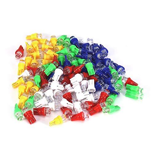 Qiilu 100 Pcs T10 158 194 168 W5W Voiture LED Ampoules Multi-Couleur Lampe Blanc Bleu Rouge Orange Vert