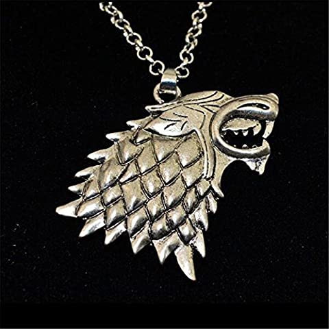 Game of Thrones The Stark House Wolf Necklace Silver Color Pendant Chain by YZAM