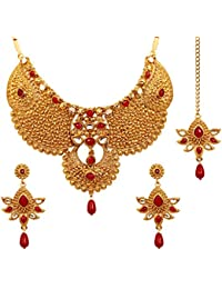 Touchstone Ethnic Kundan Look Red Faux Ruby Nicely Embossed Alloy Metal Grand Wedding Jewelry Necklace Set In...