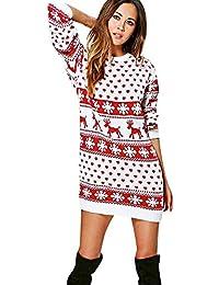 SuperSU Frauen Weihnachten Print Langarm Winter Abendkleider Rundhals Minikleid Rock Kleidung Rundhals Weihnachten Hirsch Kleider Blumen Mode Hemd Streifen Langarm Rundhals Partykleid (M, Weiß)
