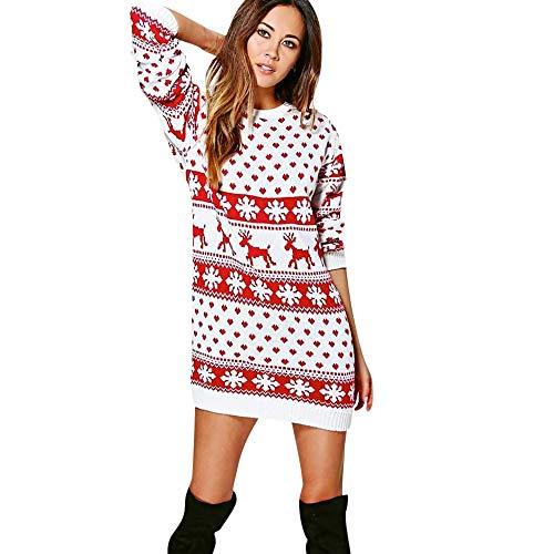 WWricotta Damen Elegant Abendkleid Vintage Weihnachtspulli Party Kleid Retro Cocktailkleid Rockabilly Minikleid Kleidung Lange Blusen Christmas Sweater(Weiß,S) -