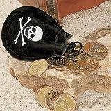 cama24com Piraten-Party Schatzbeutel 3 Stück mit je 12 Goldtaler Goldstücke Goldsäckchen Mitgebsel Gastgeschenke Schatzsuche Palandi®