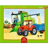 Pequeño Puzzle con marco de 15 piezas. La cosechadora y el tractor.