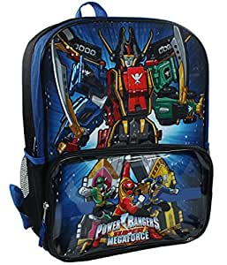 Power Rangers Boys 16 inch Backpack - Black with Blue Trim