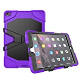 Outdoor Hülle für IPad Air 2 Cover 3in1 Stoßfest Hybrid Hardcase und Weiche Silikon Schutzhülle Tasche Case (Lila)