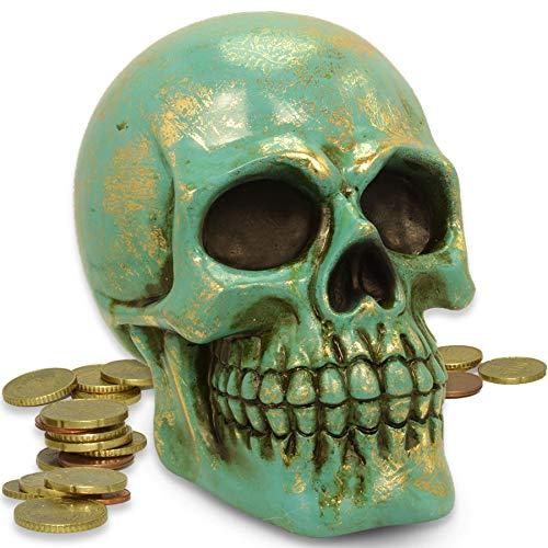 mtb more energy Decorativa Hucha Shiny Vintage Cráneo Calavera Figura Decorativa–Color Variation, Turquesa