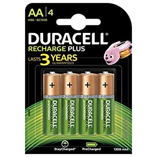 Duracell Recharge Plus Typ AA Batterien 1300 Mah, 4er Pack