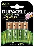 Duracell Plus Pilas Recargables  AA 1300 mAh, paquete de 4