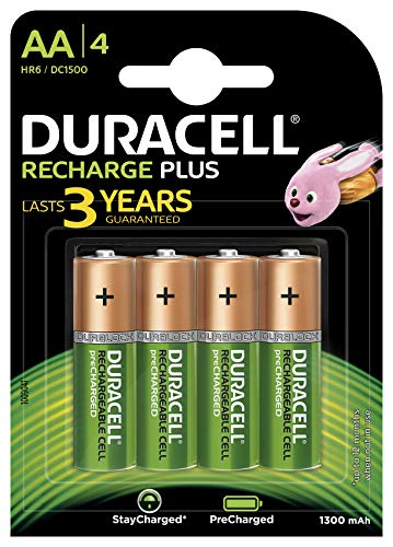 Duracell Rechargeable Plus AA (HR6 B4 1300MAH) Pack of 4 Duracell Recharge