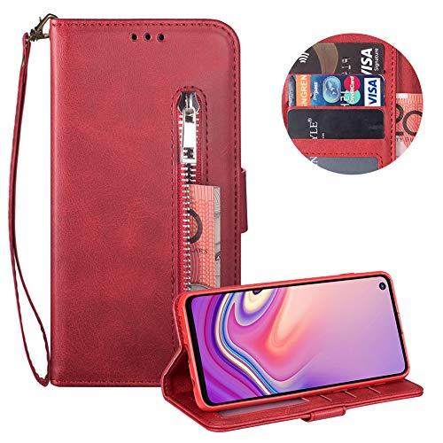Reißverschluss Brieftasche für Samsung Galaxy S10,Gurt Wallet Handyhülle für Samsung Galaxy S10,Moiky Klassisch Rot Solide Farbe Klappbar Stand Leder Handytasche (Haustiere In Kostüme Videos)