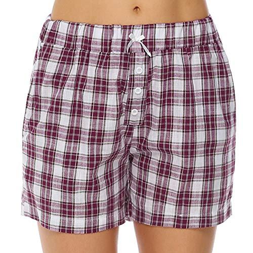 Hawiton Damen Schlafanzughose Karierte Pyjama Hose Kurz Sommer Shorts Nachtwäsche aus Baumwolle Weinrot M