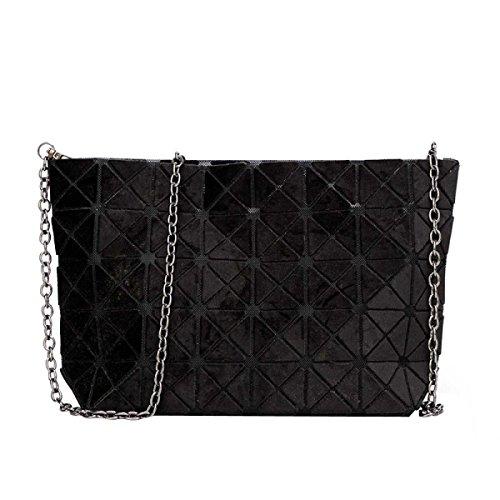 Matte Geometrische Falttasche Diagonale Paket Mode Einfache Umhängetasche Black