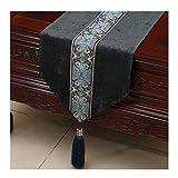 SCJ Tischdecke Bett Flagge Chinesischen Modernen Gartentisch Couchtisch Betttuch Cord Einfache Mode (Farbe: Schwarz, größe: 33 * 300 cm)