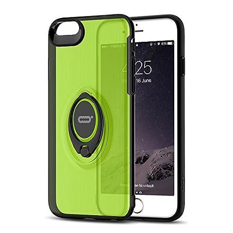 iPhone Crystal Case mit Ring Halter Ständer Funktion von iconflang, 360Grad drehbarer Ring Halter Grip Case für iPhone, Ultra Slim Dünn Hard Cover für iPhone, metall, grün, 6s