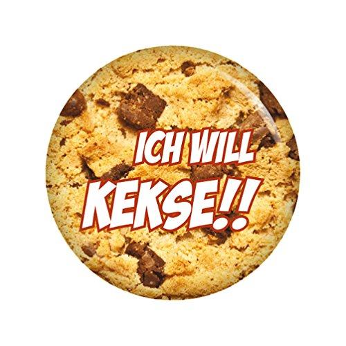 Preisvergleich Produktbild Kiwikatze® Sprüche - Ich will Kekse!! - 37mm Button Pin Ansteckbutton als Geschenk oder Mitbringsel